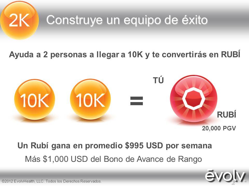 7 ©2012 EvolvHealth, LLC. Todos los Derechos Reservados. Ayuda a 2 personas a llegar a 10K y te convertirás en RUBÍ = Construye un equipo de éxito TÚ