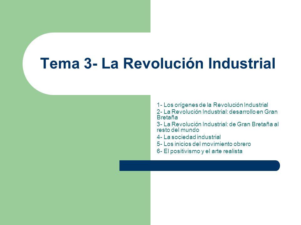 Tema 3- La Revolución Industrial 1- Los orígenes de la Revolución Industrial 2- La Revolución Industrial: desarrollo en Gran Bretaña 3- La Revolución