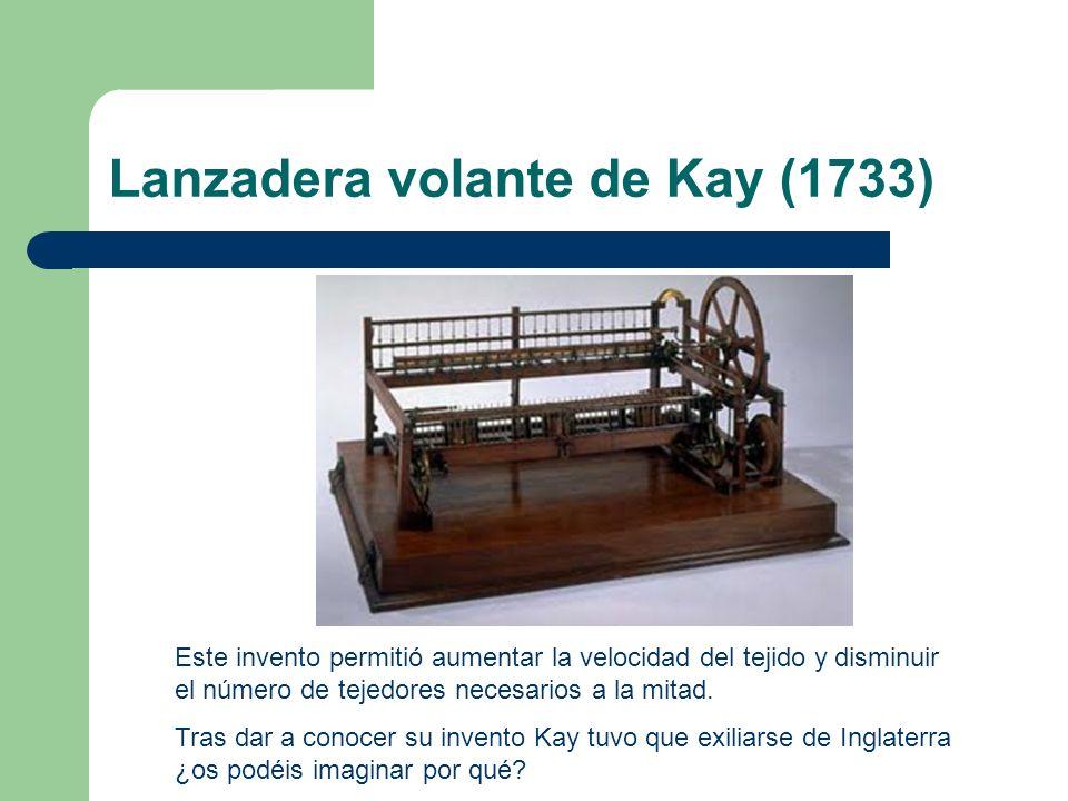 Lanzadera volante de Kay (1733) Este invento permitió aumentar la velocidad del tejido y disminuir el número de tejedores necesarios a la mitad. Tras