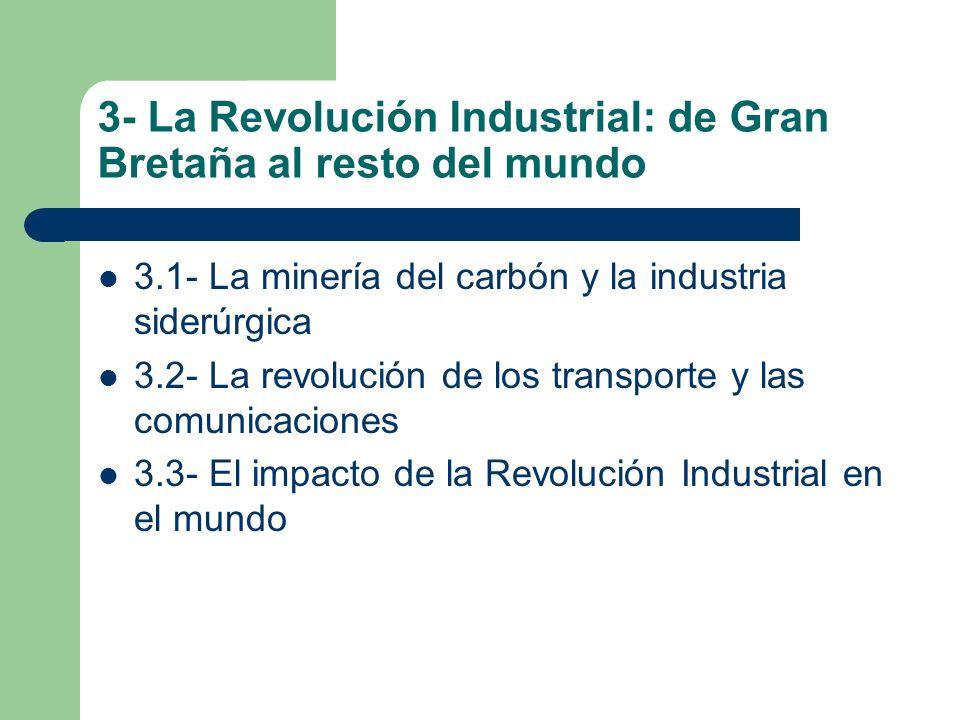 3- La Revolución Industrial: de Gran Bretaña al resto del mundo 3.1- La minería del carbón y la industria siderúrgica 3.2- La revolución de los transp