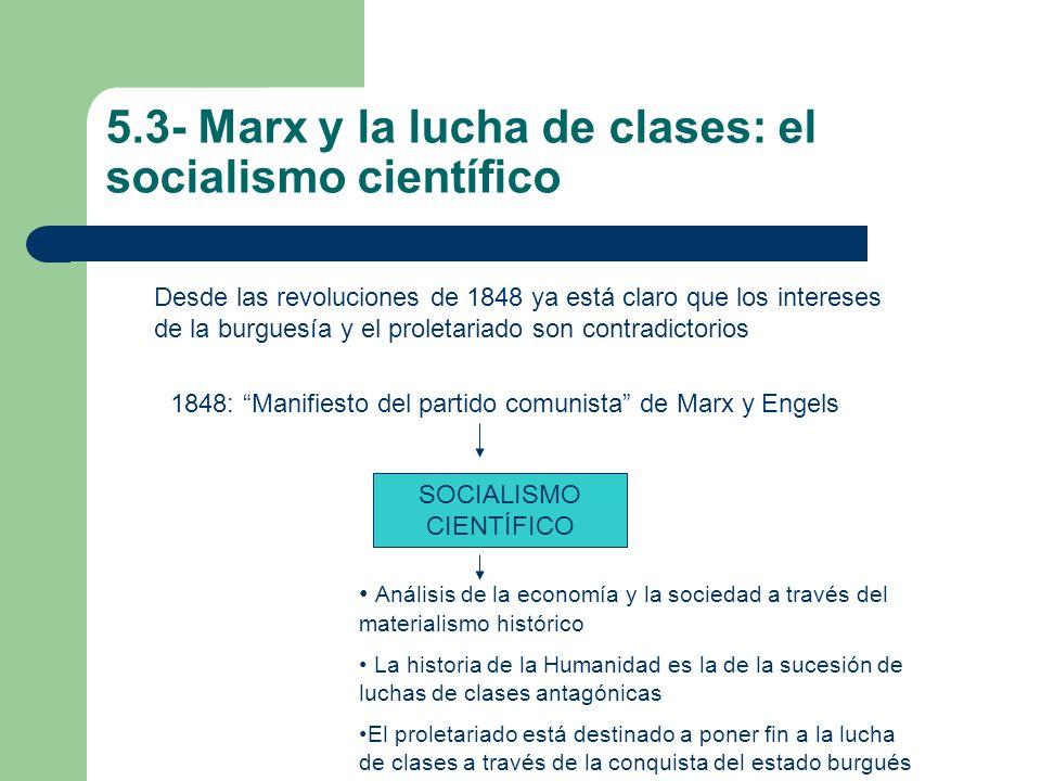 5.3- Marx y la lucha de clases: el socialismo científico Desde las revoluciones de 1848 ya está claro que los intereses de la burguesía y el proletari