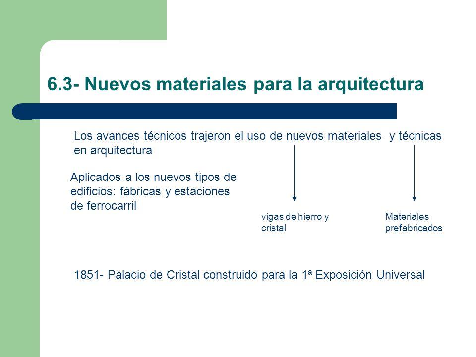 6.3- Nuevos materiales para la arquitectura Los avances técnicos trajeron el uso de nuevos materiales y técnicas en arquitectura vigas de hierro y cri
