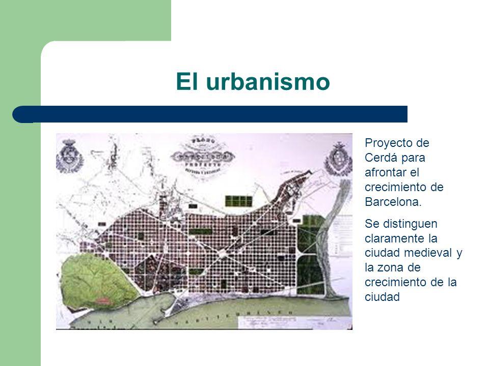 El urbanismo Proyecto de Cerdá para afrontar el crecimiento de Barcelona. Se distinguen claramente la ciudad medieval y la zona de crecimiento de la c