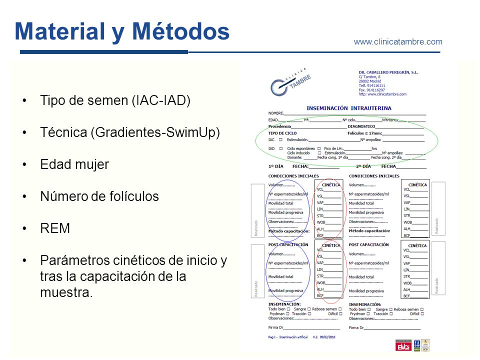 Material y Métodos Tipo de semen (IAC-IAD) Técnica (Gradientes-SwimUp) Edad mujer Número de folículos REM Parámetros cinéticos de inicio y tras la cap