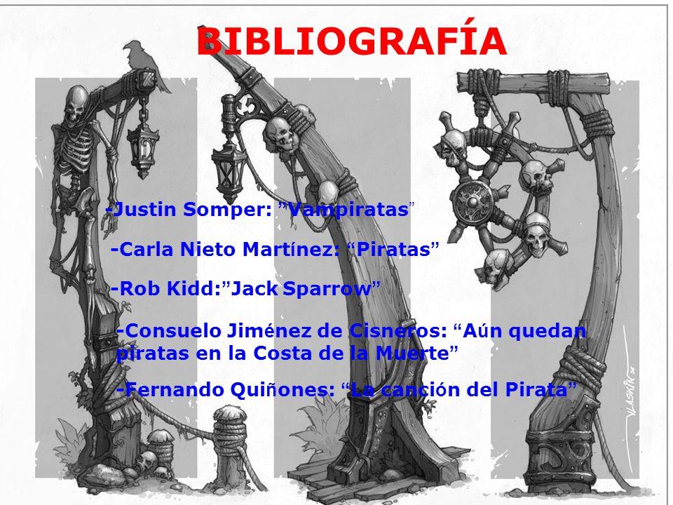 bibliografía BIBLIOGRAFÍA -Justin Somper: Vampiratas -Carla Nieto Mart í nez: Piratas -Rob Kidd: Jack Sparrow -Consuelo Jim é nez de Cisneros: A ú n q