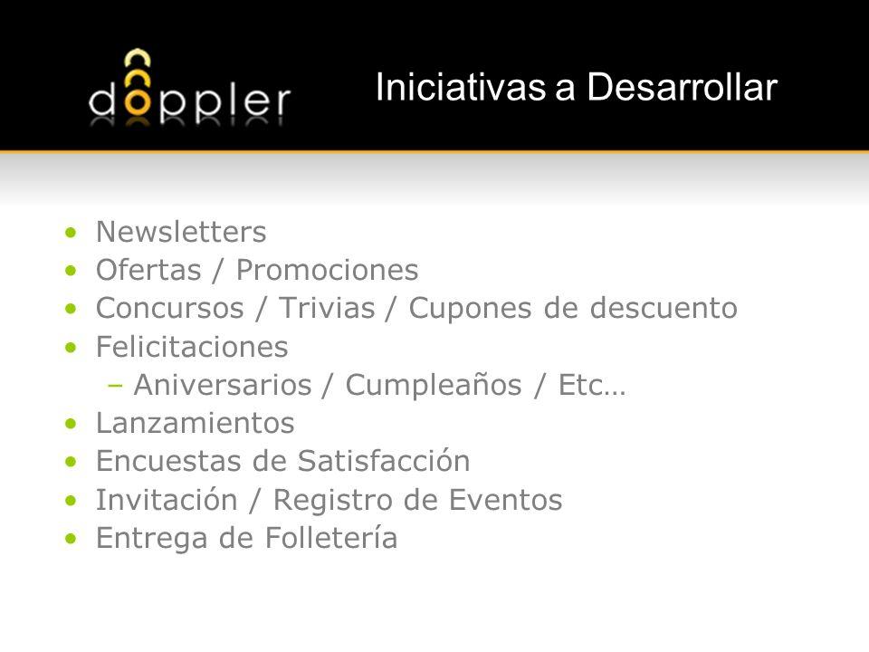 Iniciativas a Desarrollar Newsletters Ofertas / Promociones Concursos / Trivias / Cupones de descuento Felicitaciones –Aniversarios / Cumpleaños / Etc