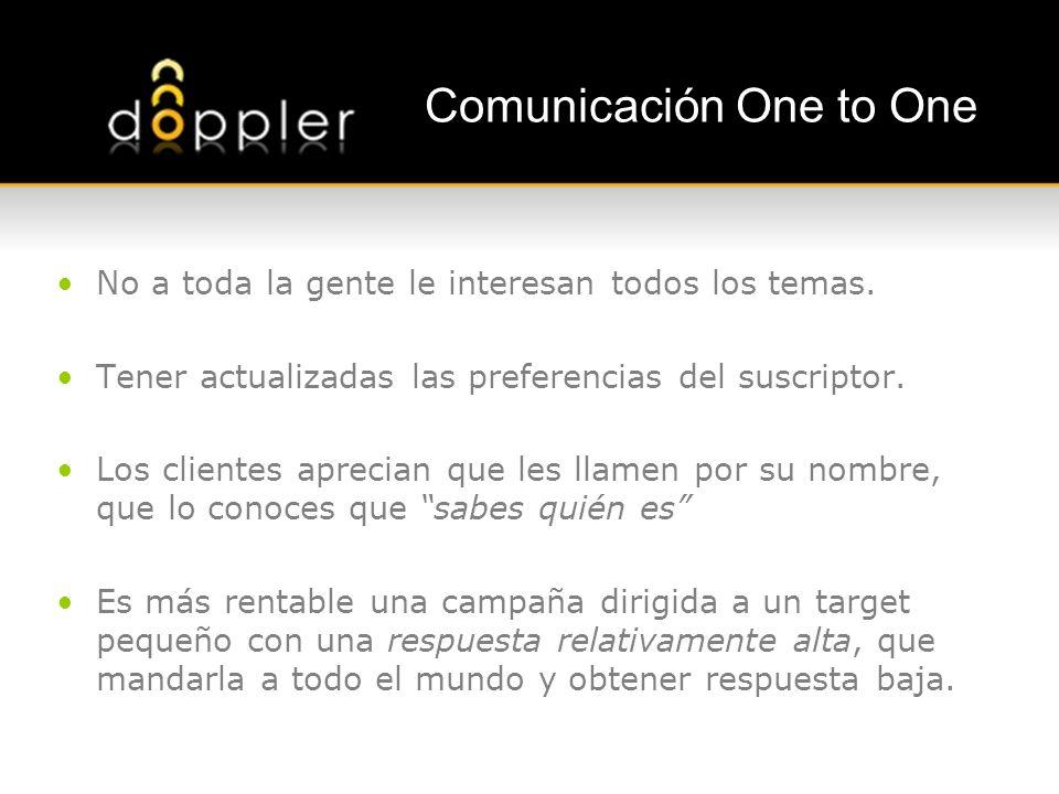 Comunicación One to One No a toda la gente le interesan todos los temas. Tener actualizadas las preferencias del suscriptor. Los clientes aprecian que