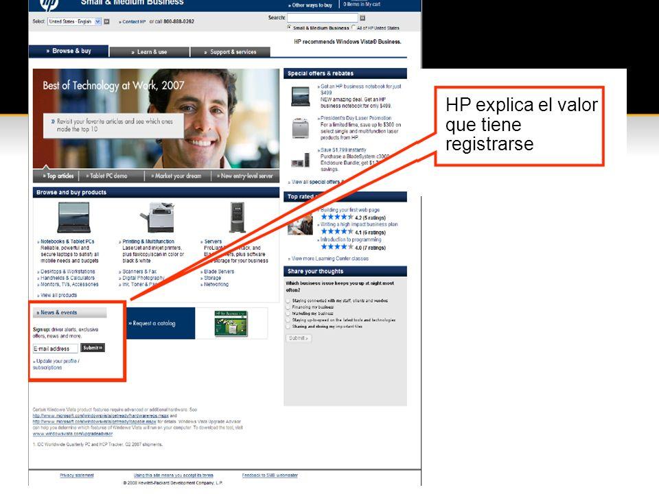 HP explica el valor que tiene registrarse