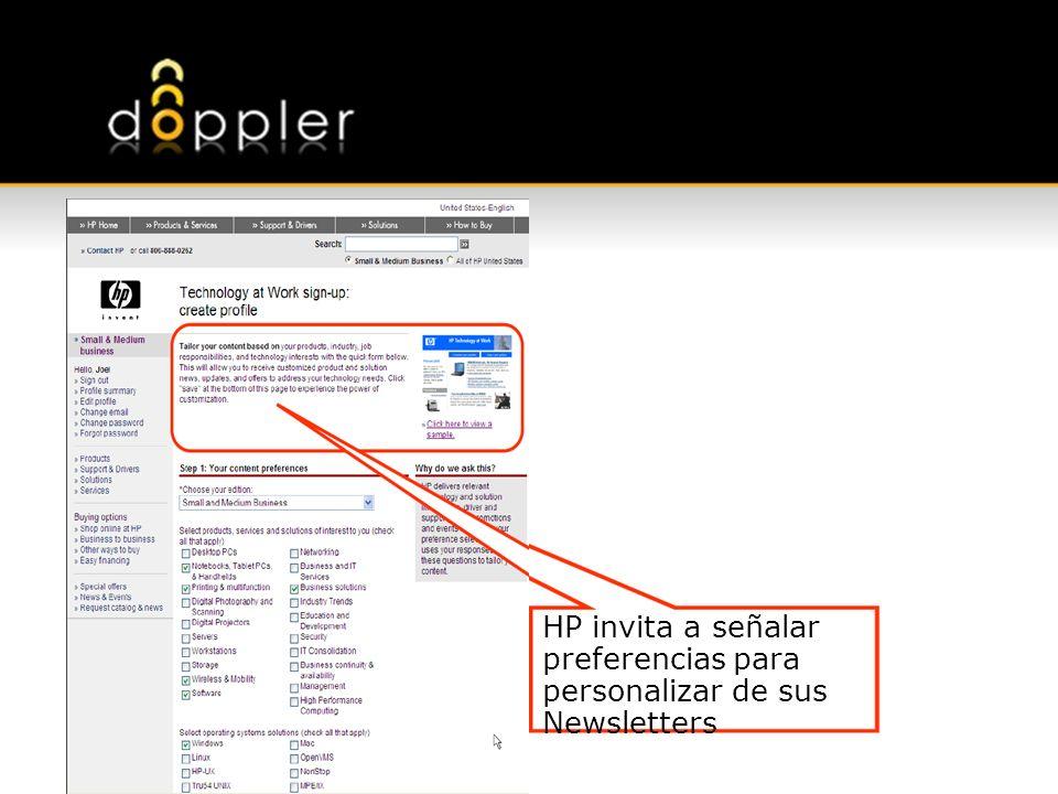 HP invita a señalar preferencias para personalizar de sus Newsletters