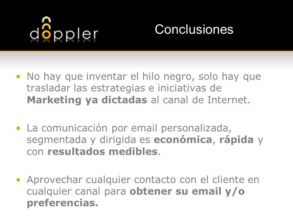 Conclusiones No hay que inventar el hilo negro, solo hay que trasladar las estrategias e iniciativas de Marketing ya dictadas al canal de Internet.