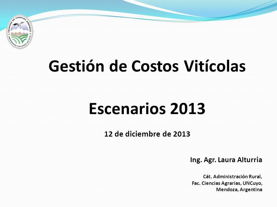 Gestión de Costos Vitícolas Escenarios 2013 12 de diciembre de 2013 Ing. Agr. Laura Alturria Cát. Administración Rural, Fac. Ciencias Agrarias, UNCuyo