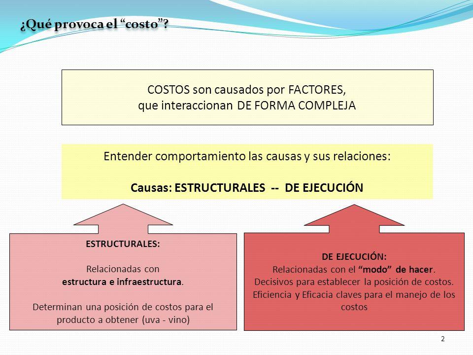 2 COSTOS son causados por FACTORES, que interaccionan DE FORMA COMPLEJA ESTRUCTURALES: Relacionadas con estructura e infraestructura. Determinan una p