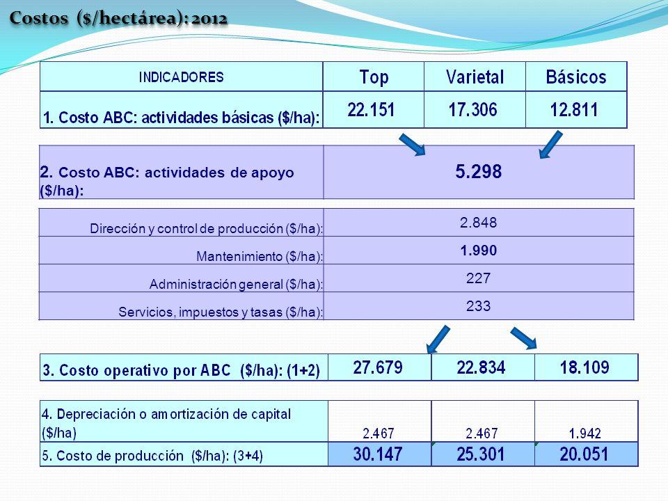 2. Costo ABC: actividades de apoyo ($/ha): 5.298 Costos ($/hectárea): 2012 Dirección y control de producción ($/ha): 2.848 Mantenimiento ($/ha): 1.990