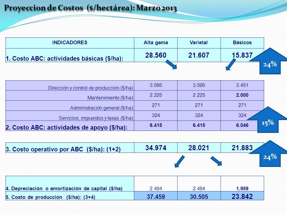 INDICADORESAlta gamaVarietalBásicos 1. Costo ABC: actividades básicas ($/ha): 28.56021.60715.837 Proyeccion de Costos ($/hectárea): Marzo 2013 Direcci
