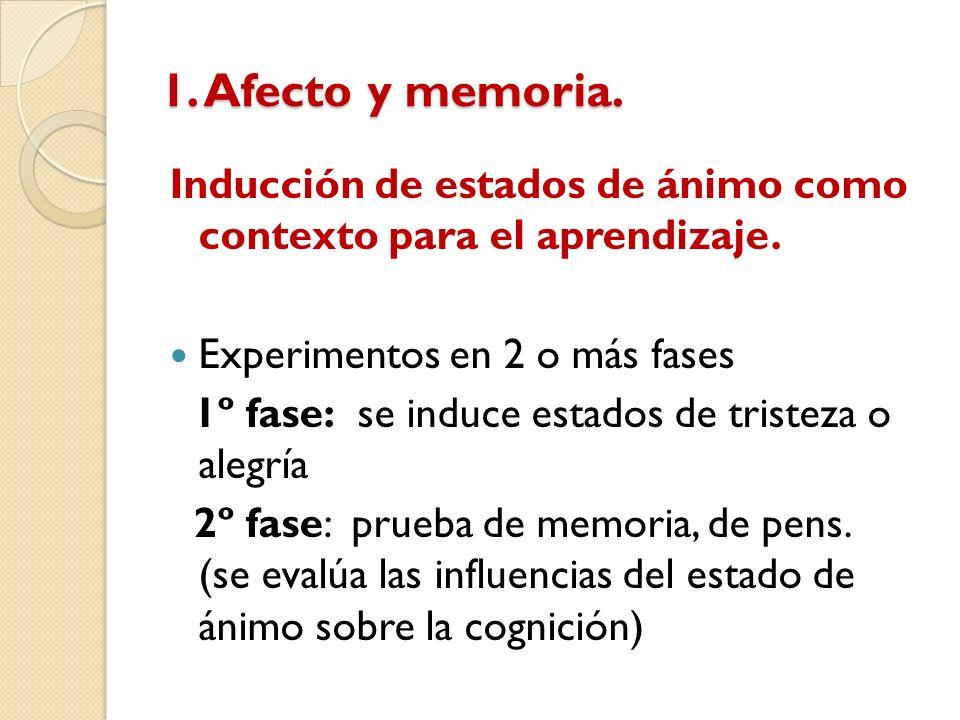 1. Afecto y memoria. Inducción de estados de ánimo como contexto para el aprendizaje. Experimentos en 2 o más fases 1º fase: se induce estados de tris