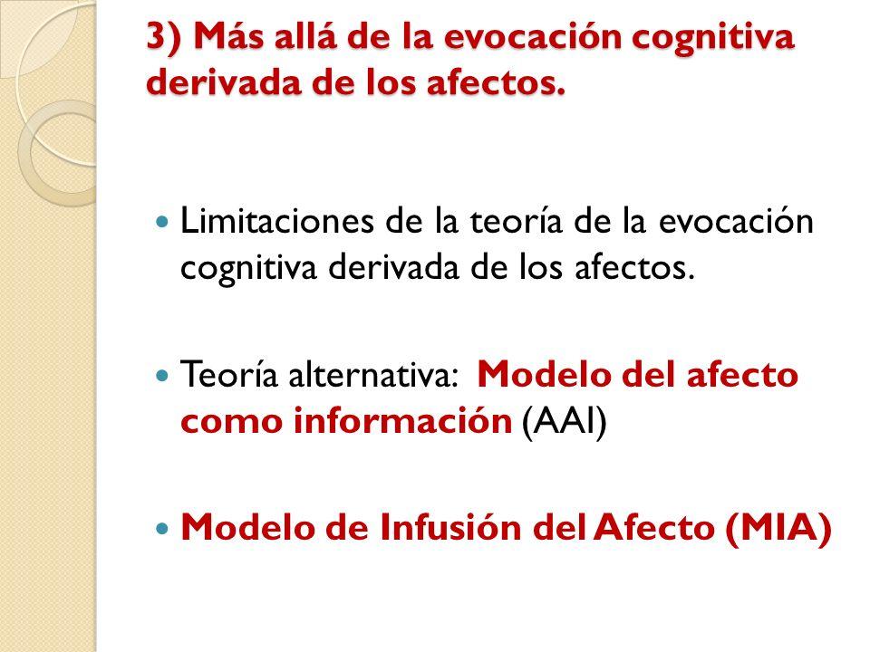 3) Más allá de la evocación cognitiva derivada de los afectos. Limitaciones de la teoría de la evocación cognitiva derivada de los afectos. Teoría alt