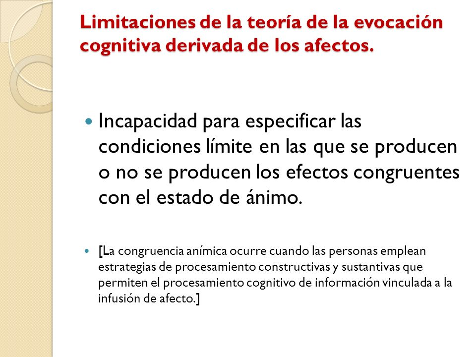 Limitaciones de la teoría de la evocación cognitiva derivada de los afectos. Incapacidad para especificar las condiciones límite en las que se produce