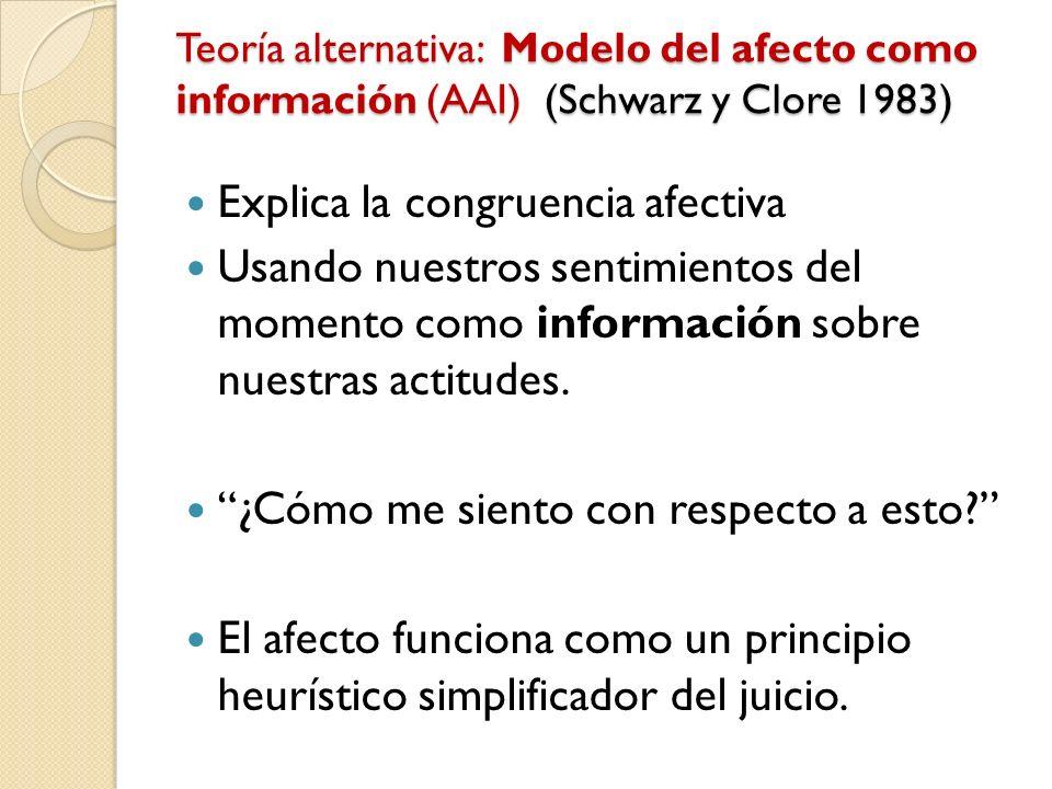 Teoría alternativa: Modelo del afecto como información (AAI) (Schwarz y Clore 1983) Explica la congruencia afectiva Usando nuestros sentimientos del m