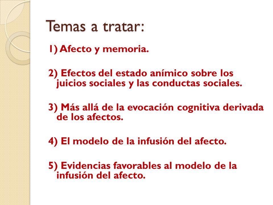 Temas a tratar: 1) Afecto y memoria. 2) Efectos del estado anímico sobre los juicios sociales y las conductas sociales. 3) Más allá de la evocación co