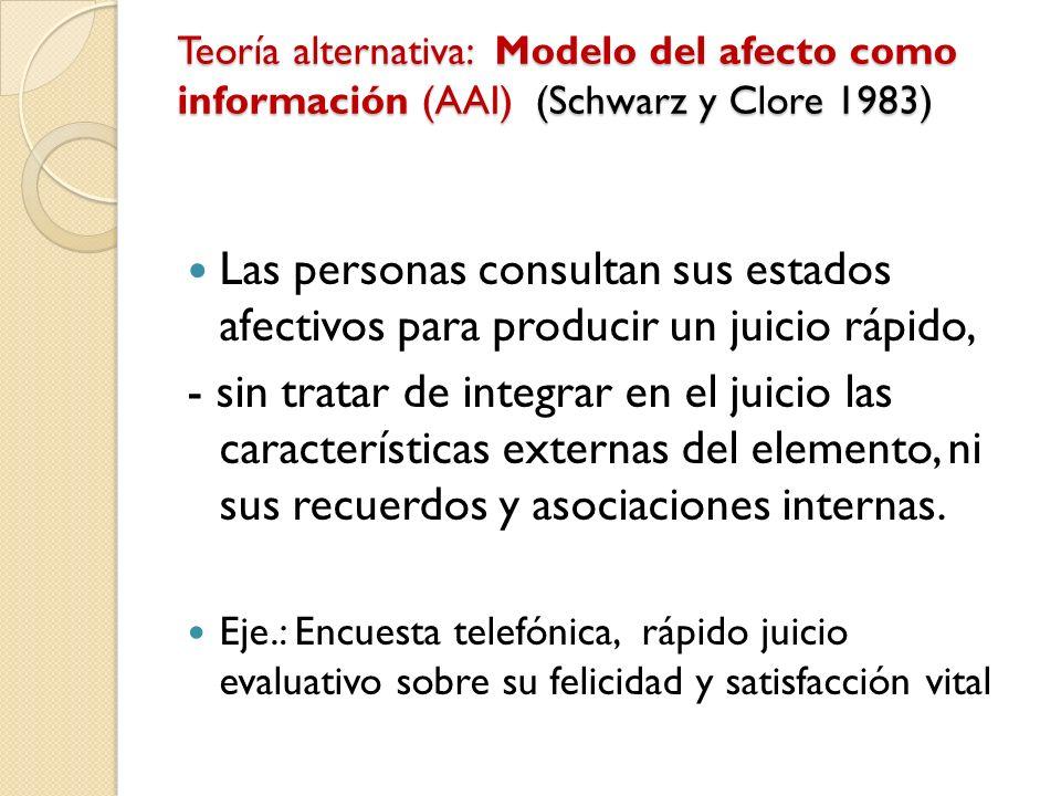Teoría alternativa: Modelo del afecto como información (AAI) (Schwarz y Clore 1983) Las personas consultan sus estados afectivos para producir un juic
