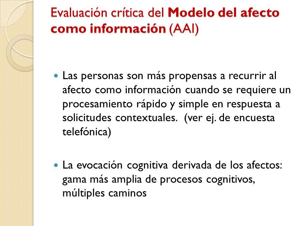 Evaluación crítica del Modelo del afecto como información (AAI) Las personas son más propensas a recurrir al afecto como información cuando se requier