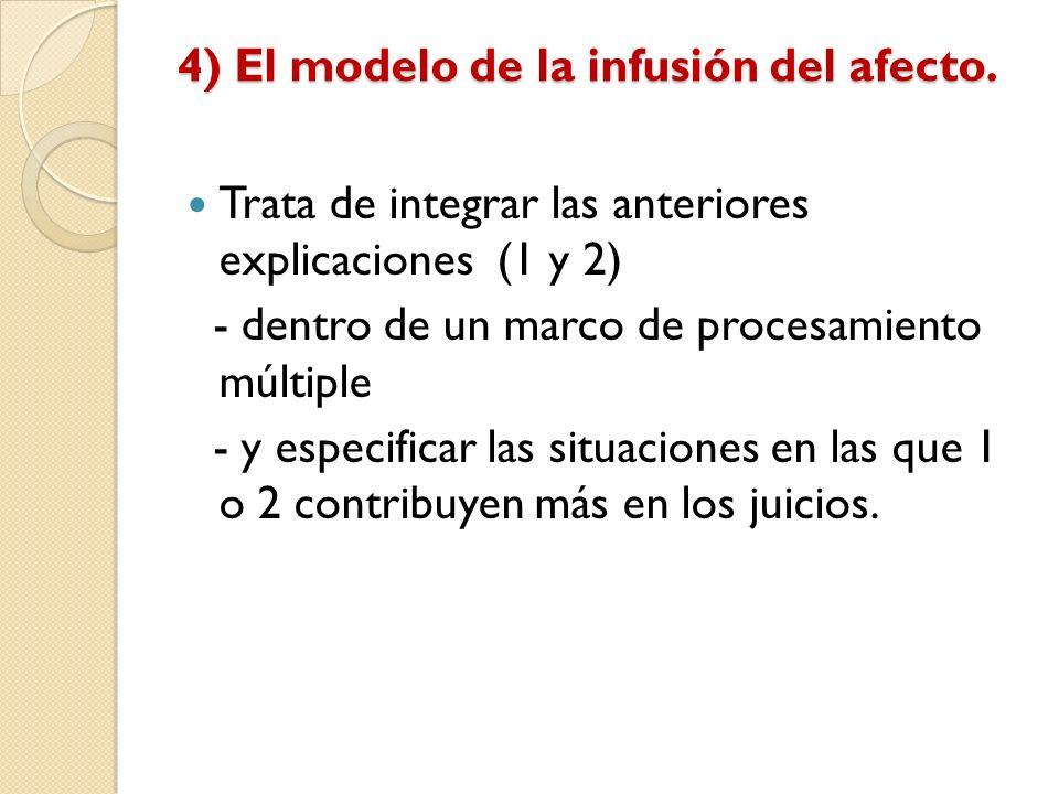 4) El modelo de la infusión del afecto. Trata de integrar las anteriores explicaciones (1 y 2) - dentro de un marco de procesamiento múltiple - y espe