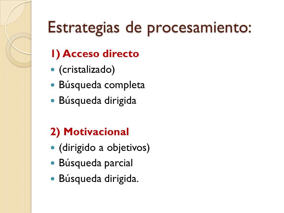 Estrategias de procesamiento: 1) Acceso directo (cristalizado) Búsqueda completa Búsqueda dirigida 2) Motivacional (dirigido a objetivos) Búsqueda par