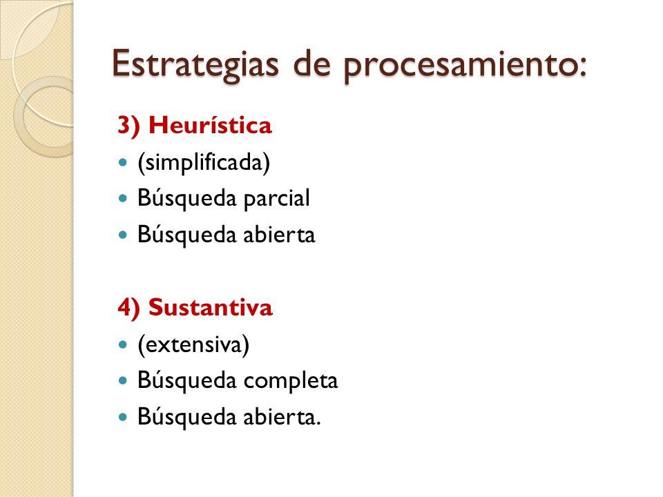 Estrategias de procesamiento: 3) Heurística (simplificada) Búsqueda parcial Búsqueda abierta 4) Sustantiva (extensiva) Búsqueda completa Búsqueda abie
