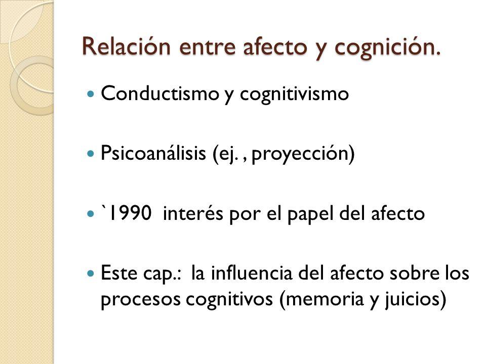 Relación entre afecto y cognición. Conductismo y cognitivismo Psicoanálisis (ej., proyección) `1990 interés por el papel del afecto Este cap.: la infl