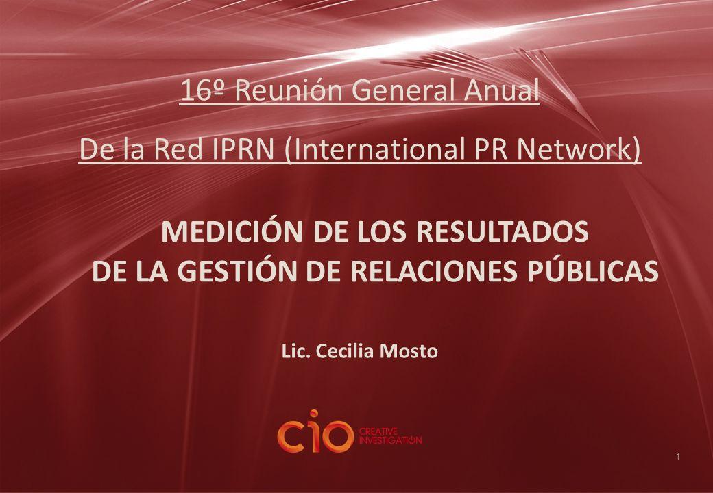 1 16º Reunión General Anual De la Red IPRN (International PR Network) MEDICIÓN DE LOS RESULTADOS DE LA GESTIÓN DE RELACIONES PÚBLICAS Lic. Cecilia Mos