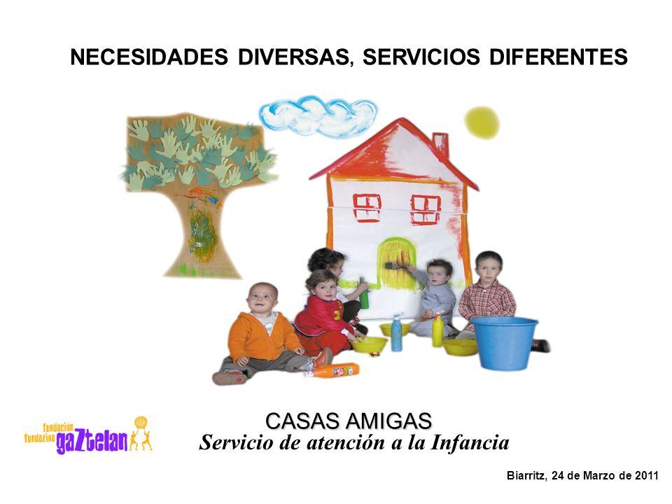 Biarritz, 24 de Marzo de 2011 CASAS AMIGAS CASAS AMIGAS Servicio de atención a la Infancia NECESIDADES DIVERSAS, SERVICIOS DIFERENTES