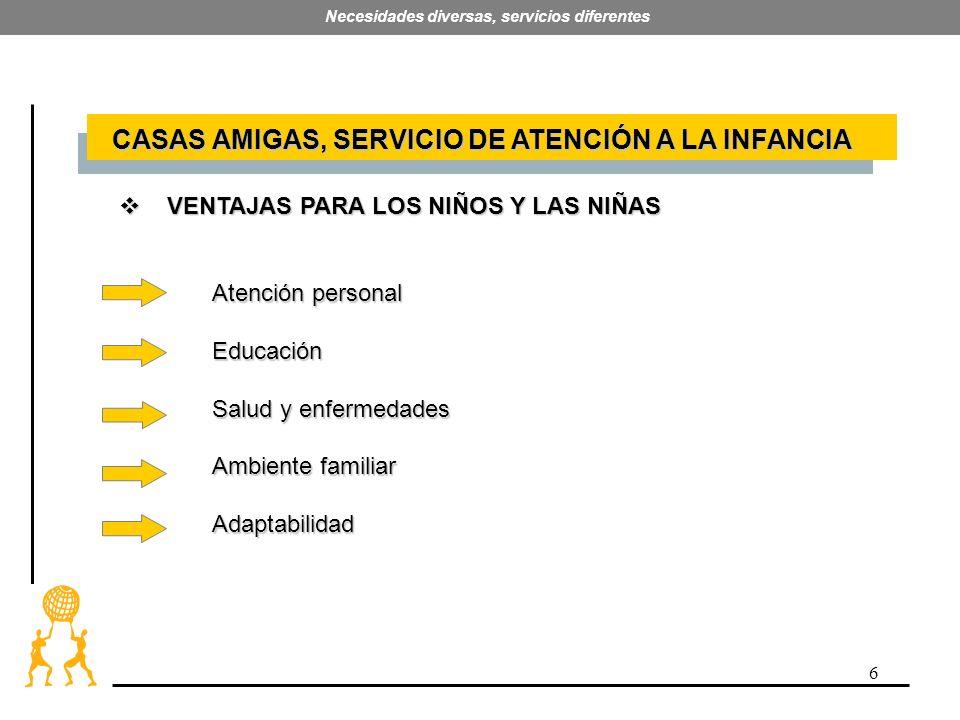 6 Necesidades diversas, servicios diferentes VENTAJAS PARA LOS NIÑOS Y LAS NIÑAS VENTAJAS PARA LOS NIÑOS Y LAS NIÑAS Atención personal Educación Salud