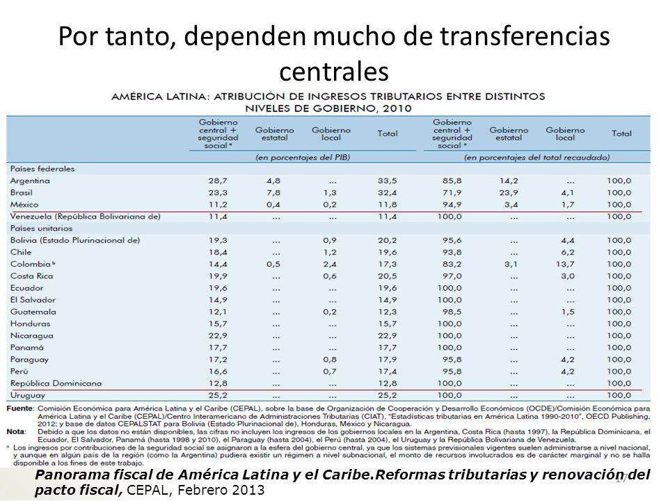 En suma… 1.La mayoría en LAC usa los impuestos como vehículo de transferencias a las áreas menos desarrolladas.