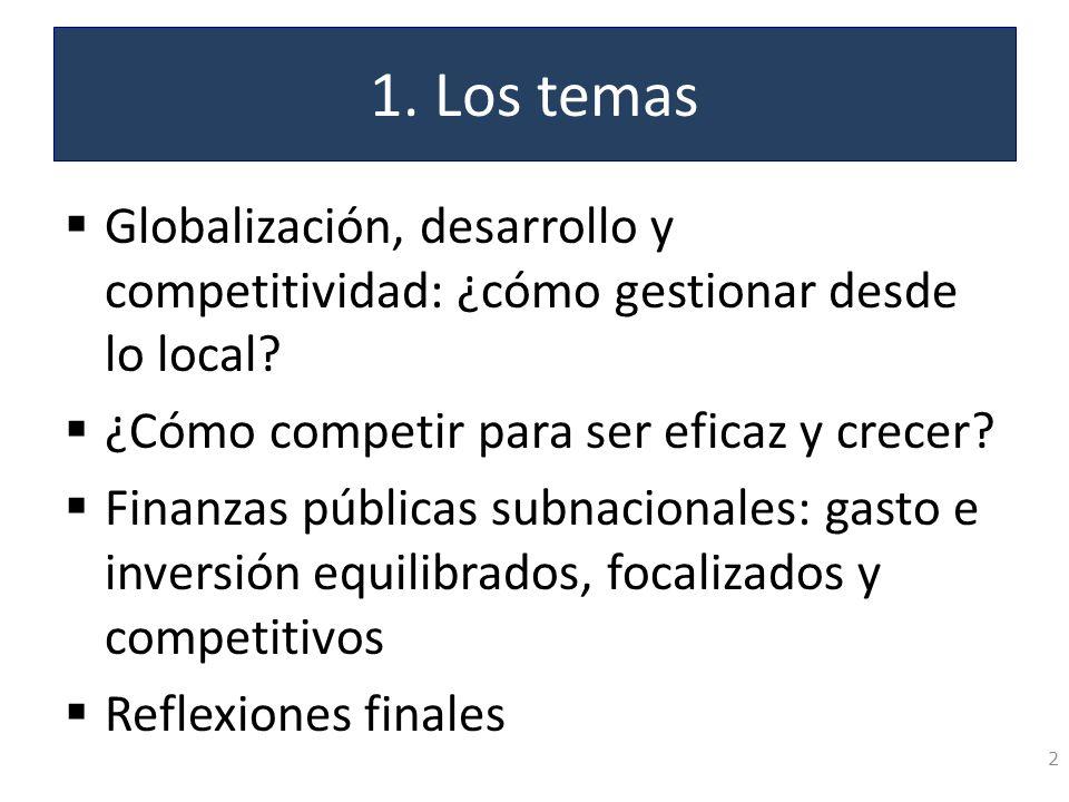1. Los temas Globalización, desarrollo y competitividad: ¿cómo gestionar desde lo local? ¿Cómo competir para ser eficaz y crecer? Finanzas públicas su