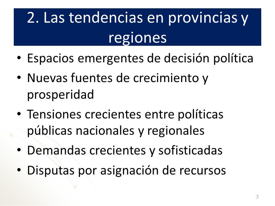 2. Las tendencias en provincias y regiones Espacios emergentes de decisión política Nuevas fuentes de crecimiento y prosperidad Tensiones crecientes e