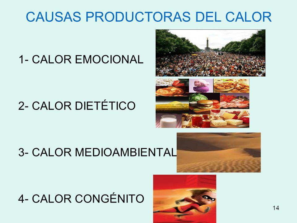 14 CAUSAS PRODUCTORAS DEL CALOR 1- CALOR EMOCIONAL 2- CALOR DIETÉTICO 3- CALOR MEDIOAMBIENTAL 4- CALOR CONGÉNITO