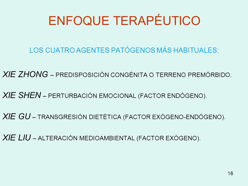 16 ENFOQUE TERAPÉUTICO LOS CUATRO AGENTES PATÓGENOS MÁS HABITUALES: XIE ZHONG – PREDISPOSICIÓN CONGÉNITA O TERRENO PREMÓRBIDO. XIE SHEN – PERTURBACIÓN