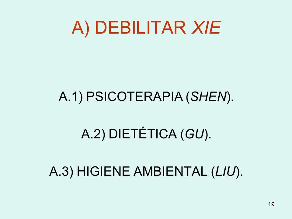 19 A) DEBILITAR XIE A.1) PSICOTERAPIA (SHEN). A.2) DIETÉTICA (GU). A.3) HIGIENE AMBIENTAL (LIU).