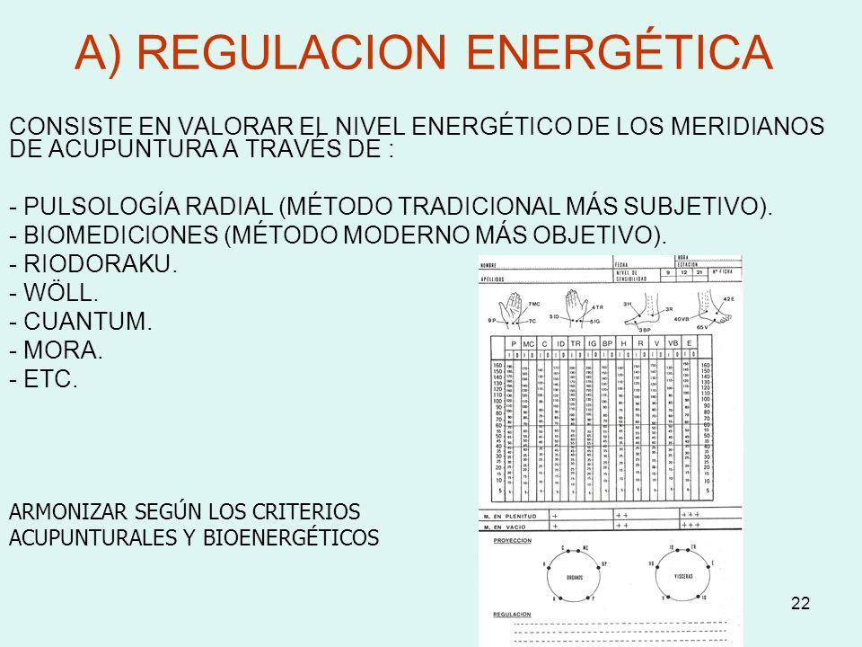 22 A) REGULACION ENERGÉTICA CONSISTE EN VALORAR EL NIVEL ENERGÉTICO DE LOS MERIDIANOS DE ACUPUNTURA A TRAVÉS DE : - PULSOLOGÍA RADIAL (MÉTODO TRADICIO
