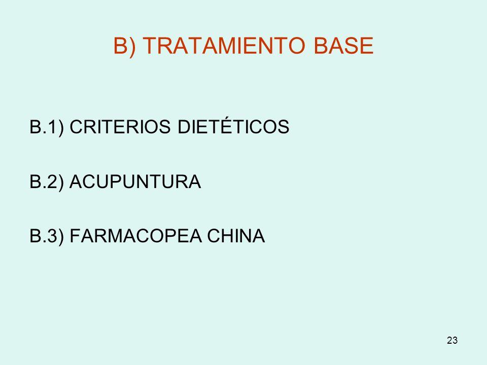 23 B) TRATAMIENTO BASE B.1) CRITERIOS DIETÉTICOS B.2) ACUPUNTURA B.3) FARMACOPEA CHINA