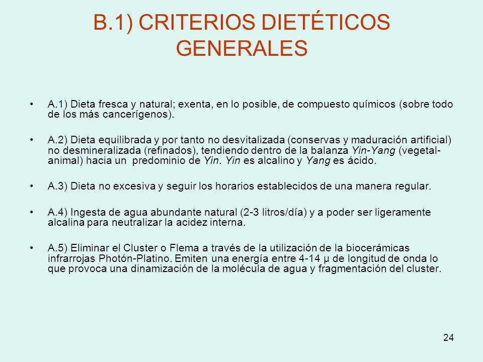 24 B.1) CRITERIOS DIETÉTICOS GENERALES A.1) Dieta fresca y natural; exenta, en lo posible, de compuesto químicos (sobre todo de los más cancerígenos).