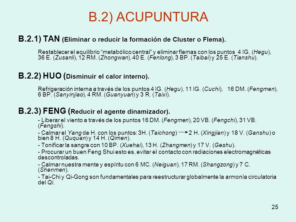 25 B.2) ACUPUNTURA B.2.1) TAN (Eliminar o reducir la formación de Cluster o Flema). Restablecer el equilibrio metabólico central y eliminar flemas con