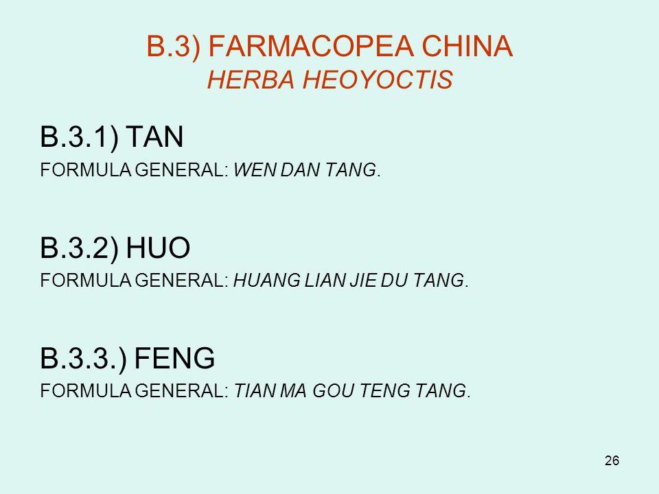 26 B.3) FARMACOPEA CHINA HERBA HEOYOCTIS B.3.1) TAN FORMULA GENERAL: WEN DAN TANG. B.3.2) HUO FORMULA GENERAL: HUANG LIAN JIE DU TANG. B.3.3.) FENG FO