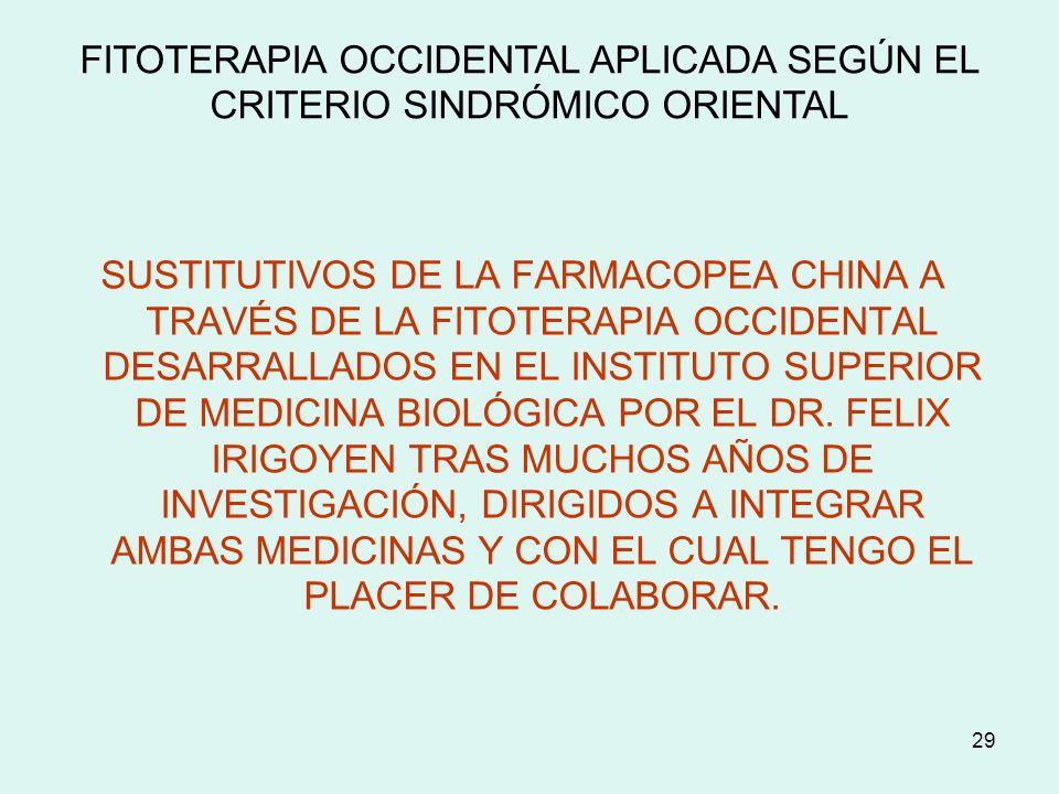 29 SUSTITUTIVOS DE LA FARMACOPEA CHINA A TRAVÉS DE LA FITOTERAPIA OCCIDENTAL DESARRALLADOS EN EL INSTITUTO SUPERIOR DE MEDICINA BIOLÓGICA POR EL DR. F