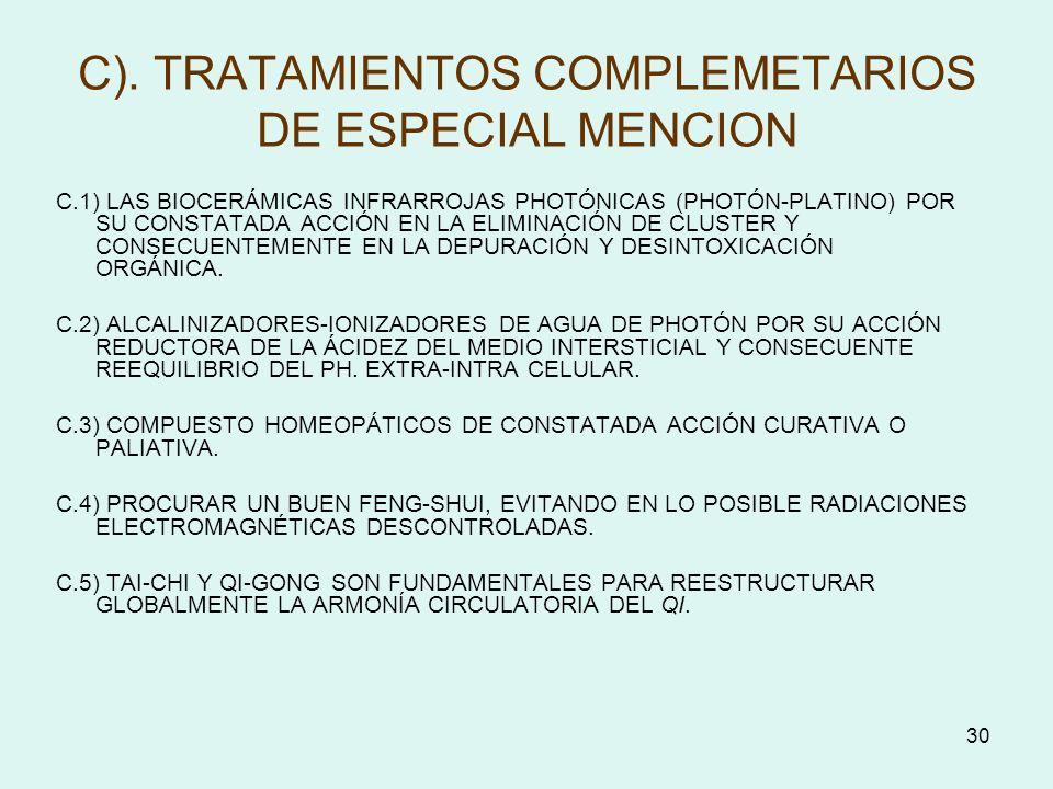 30 C). TRATAMIENTOS COMPLEMETARIOS DE ESPECIAL MENCION C.1) LAS BIOCERÁMICAS INFRARROJAS PHOTÓNICAS (PHOTÓN-PLATINO) POR SU CONSTATADA ACCIÓN EN LA EL