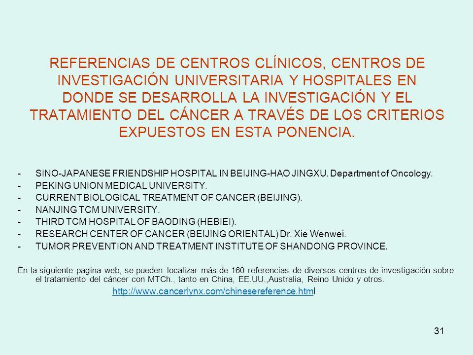 31 REFERENCIAS DE CENTROS CLÍNICOS, CENTROS DE INVESTIGACIÓN UNIVERSITARIA Y HOSPITALES EN DONDE SE DESARROLLA LA INVESTIGACIÓN Y EL TRATAMIENTO DEL C
