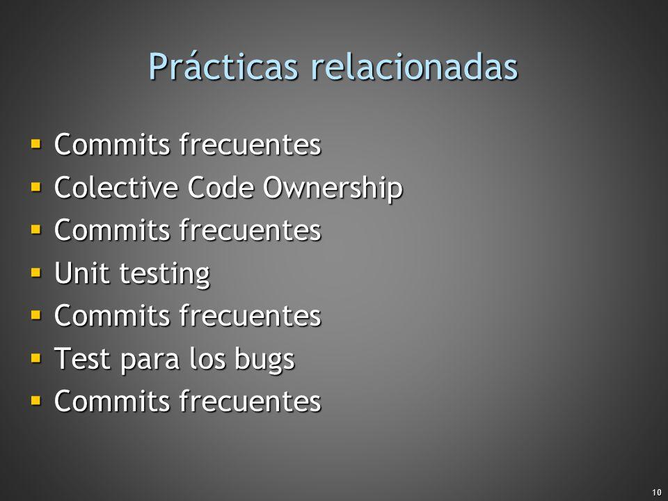 10 Prácticas relacionadas Commits frecuentes Commits frecuentes Colective Code Ownership Colective Code Ownership Commits frecuentes Commits frecuente