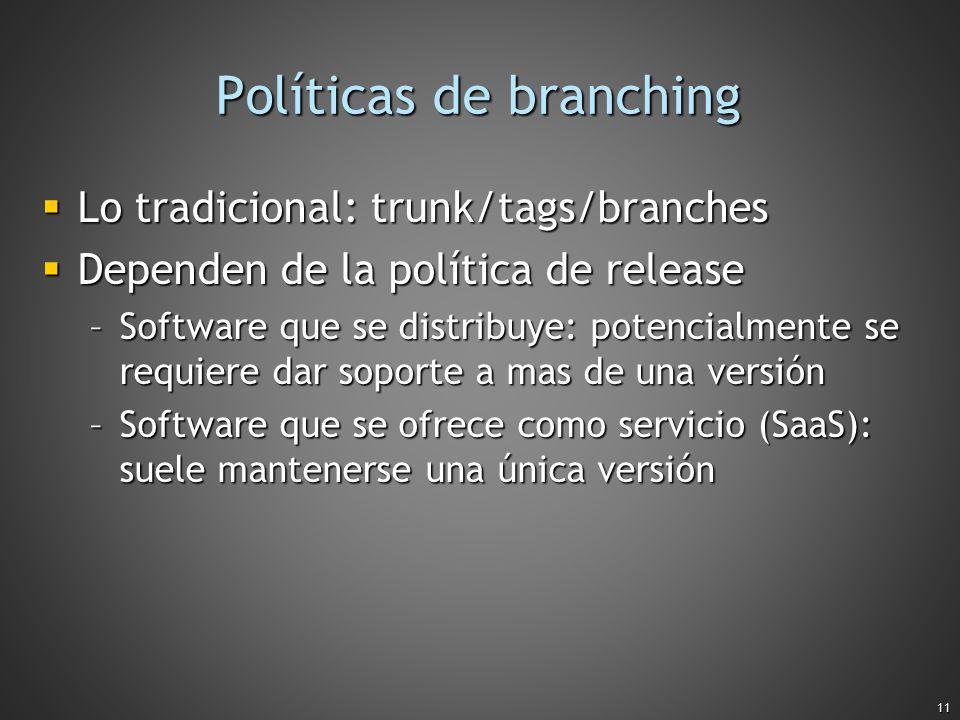 11 Políticas de branching Lo tradicional: trunk/tags/branches Lo tradicional: trunk/tags/branches Dependen de la política de release Dependen de la po