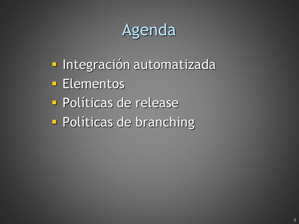 2 Agenda Integración automatizada Integración automatizada Elementos Elementos Políticas de release Políticas de release Políticas de branching Políti