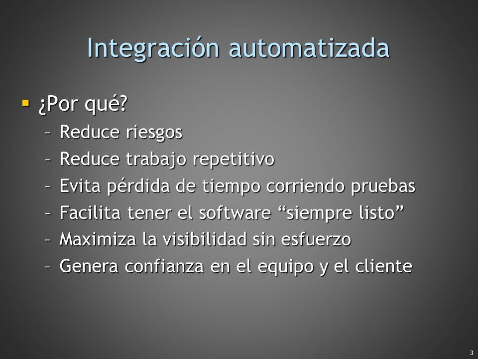 3 Integración automatizada ¿Por qué? ¿Por qué? –Reduce riesgos –Reduce trabajo repetitivo –Evita pérdida de tiempo corriendo pruebas –Facilita tener e